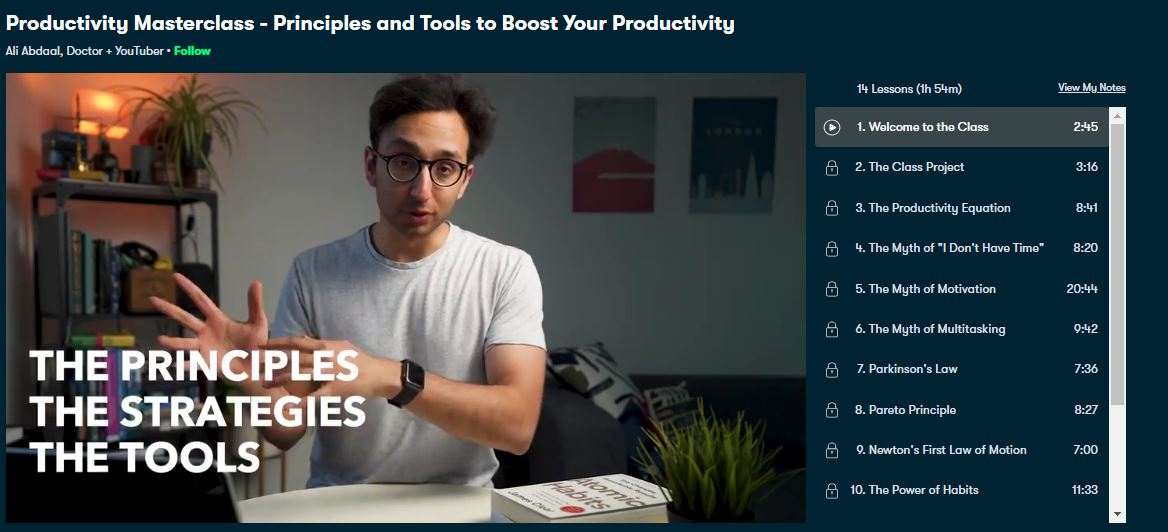 Ali Abdaal - Productivity Masterclass - Principles and Tools to Boost Your Productivity Free Download